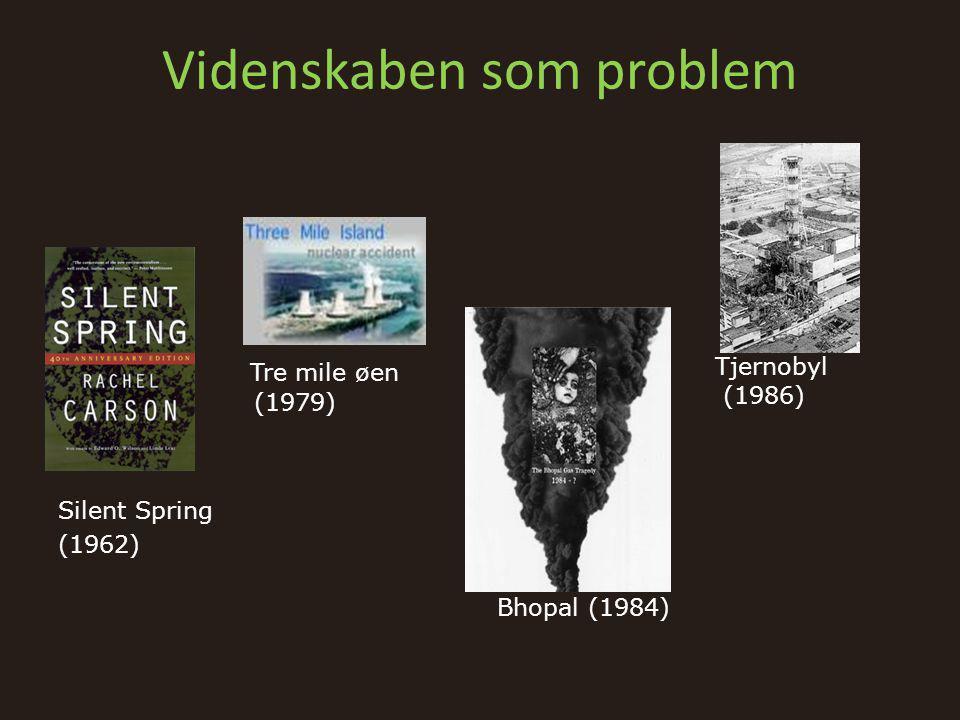 Videnskaben som problem Silent Spring (1962) • Tre mile øen (1979) Bhopal (1984) Tjernobyl (1986)