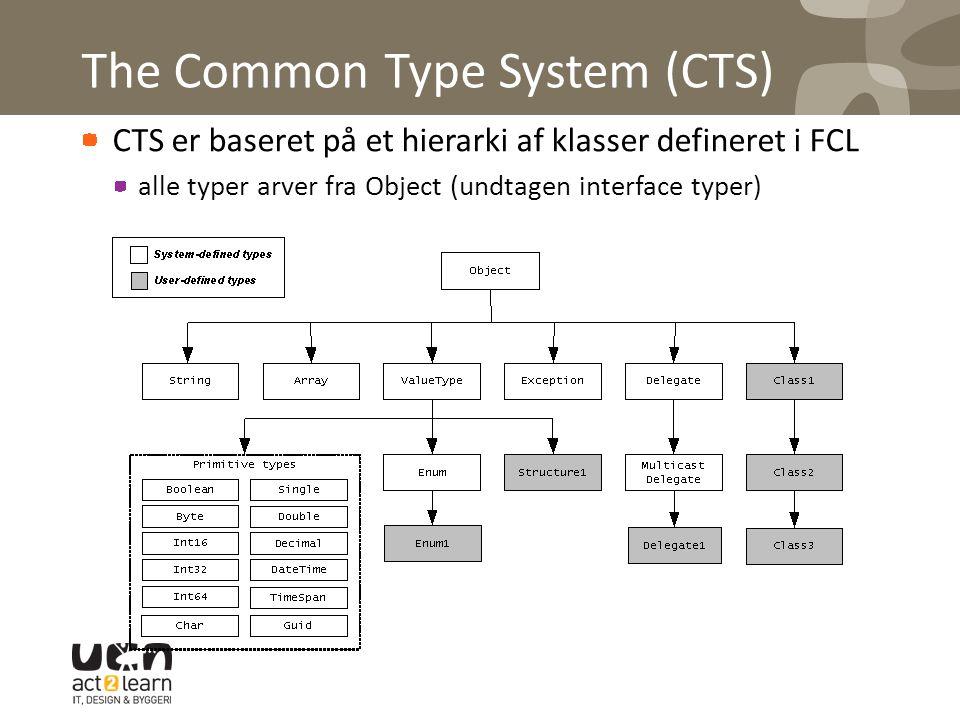 The Common Type System (CTS) CTS er baseret på et hierarki af klasser defineret i FCL alle typer arver fra Object (undtagen interface typer)
