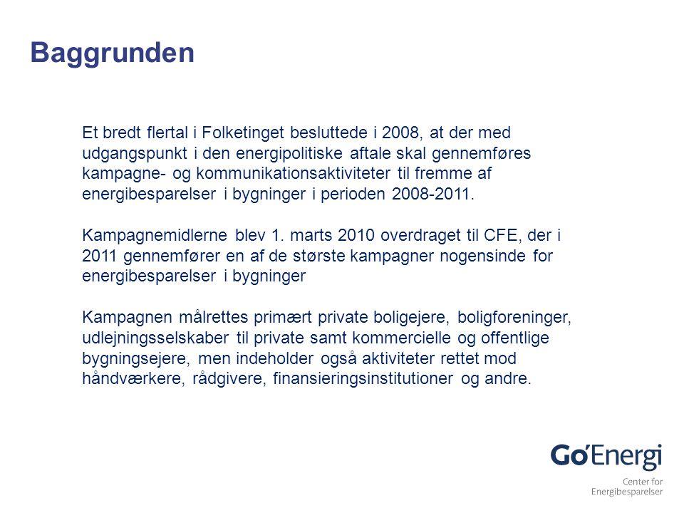 Et bredt flertal i Folketinget besluttede i 2008, at der med udgangspunkt i den energipolitiske aftale skal gennemføres kampagne- og kommunikationsaktiviteter til fremme af energibesparelser i bygninger i perioden 2008-2011.
