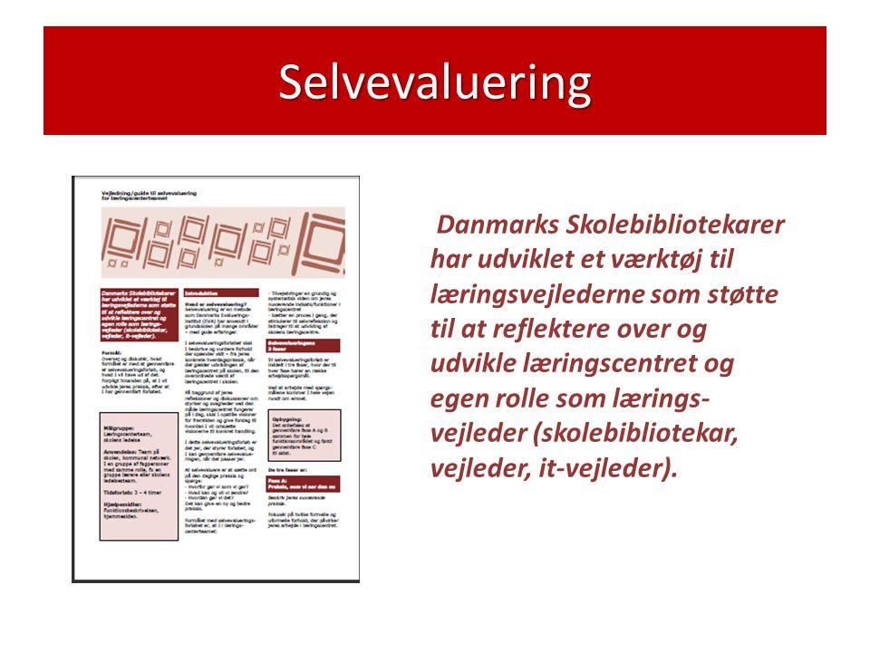 Selvevaluering Danmarks Skolebibliotekarer har udviklet et værktøj til læringsvejlederne som støtte til at reflektere over og udvikle læringscentret og egen rolle som lærings- vejleder (skolebibliotekar, vejleder, it-vejleder).