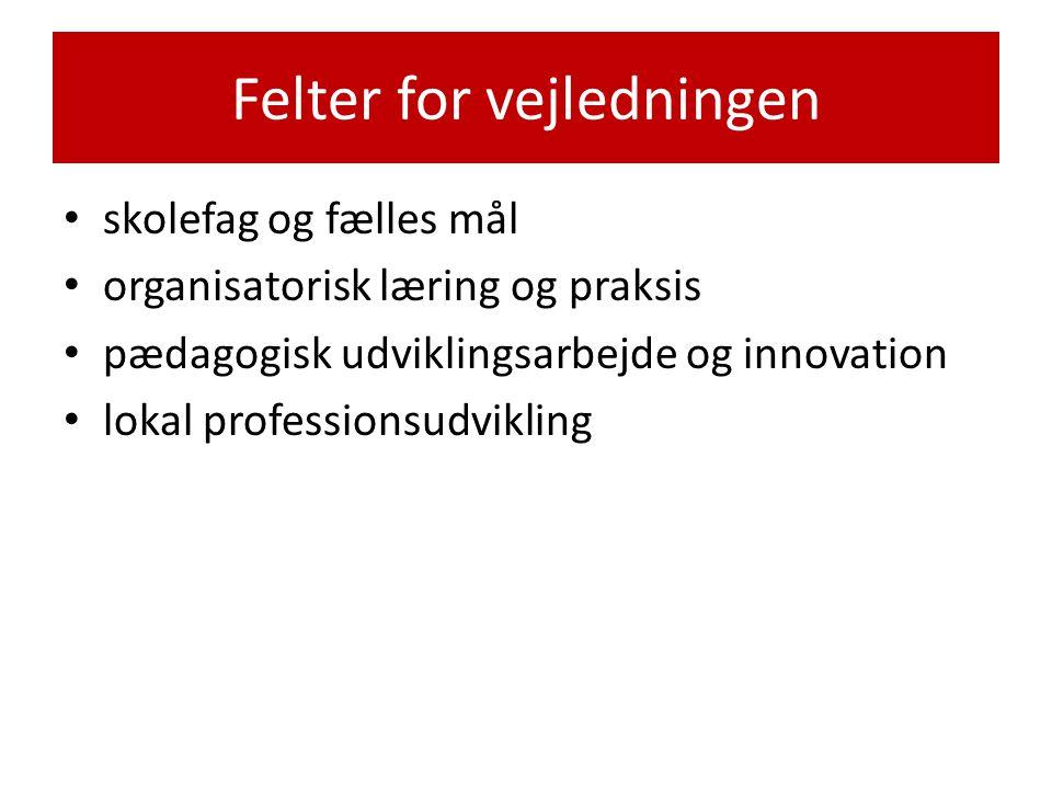 Felter for vejledningen • skolefag og fælles mål • organisatorisk læring og praksis • pædagogisk udviklingsarbejde og innovation • lokal professionsudvikling