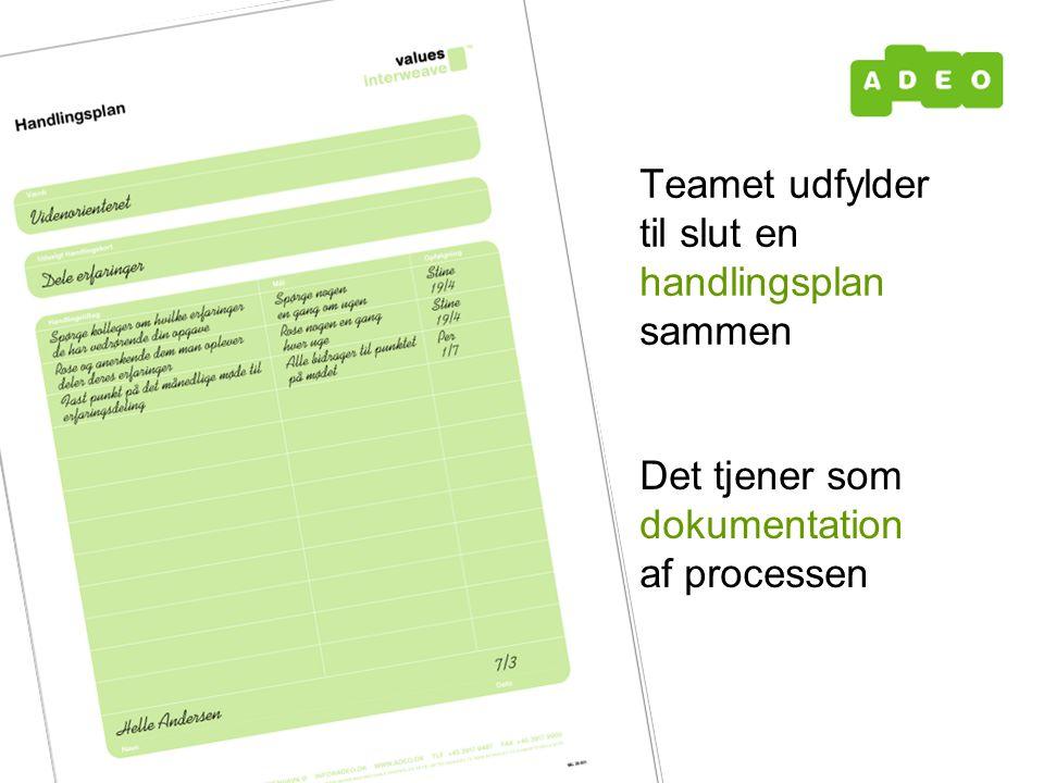 Teamet udfylder til slut en handlingsplan sammen Det tjener som dokumentation af processen