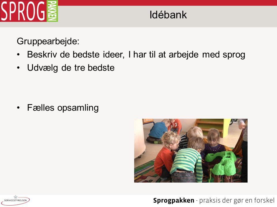 Idébank Gruppearbejde: •Beskriv de bedste ideer, I har til at arbejde med sprog •Udvælg de tre bedste •Fælles opsamling