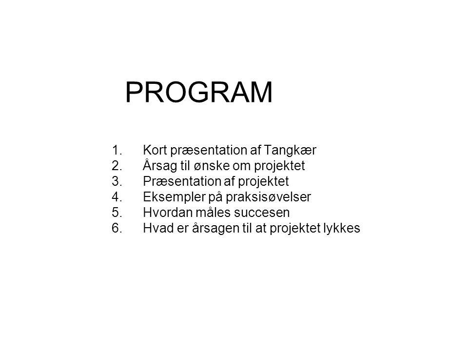 PROGRAM 1.Kort præsentation af Tangkær 2.Årsag til ønske om projektet 3.Præsentation af projektet 4.Eksempler på praksisøvelser 5.Hvordan måles succesen 6.Hvad er årsagen til at projektet lykkes