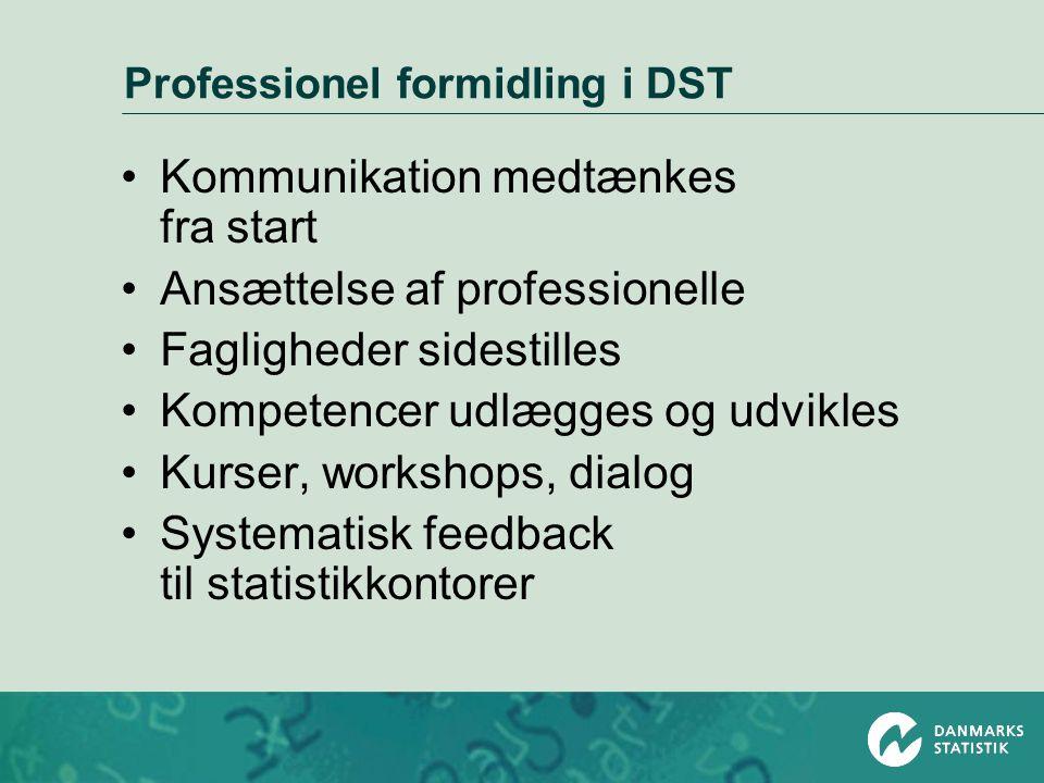 Professionel formidling i DST •Kommunikation medtænkes fra start •Ansættelse af professionelle •Fagligheder sidestilles •Kompetencer udlægges og udvikles •Kurser, workshops, dialog •Systematisk feedback til statistikkontorer