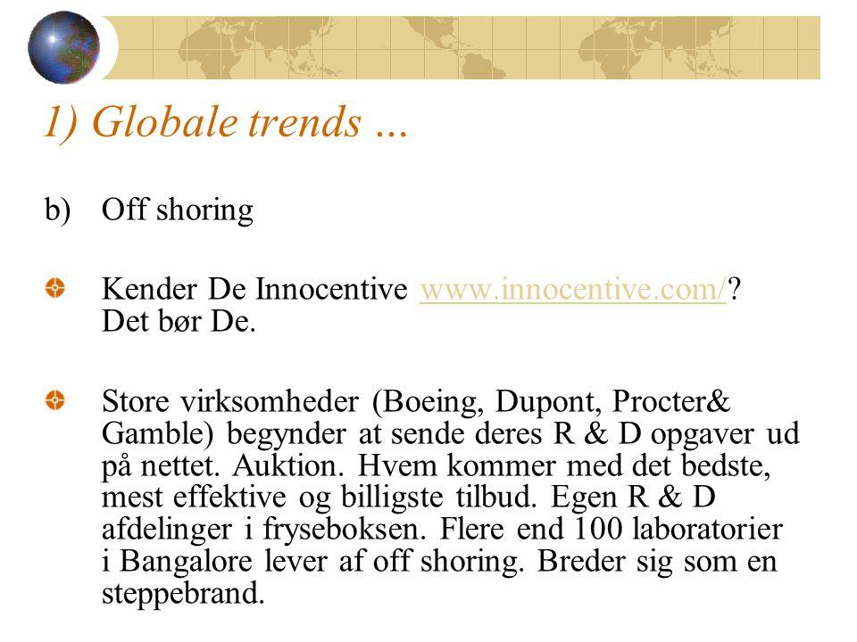 1) Globale trends … b)Off shoring Kender De Innocentive www.innocentive.com/.