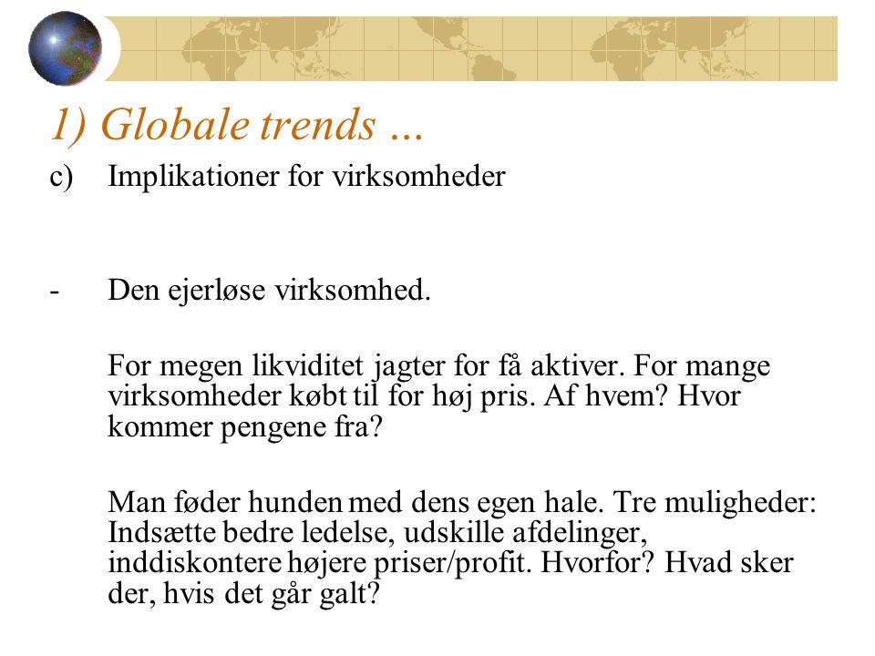1) Globale trends … c)Implikationer for virksomheder -Den ejerløse virksomhed.