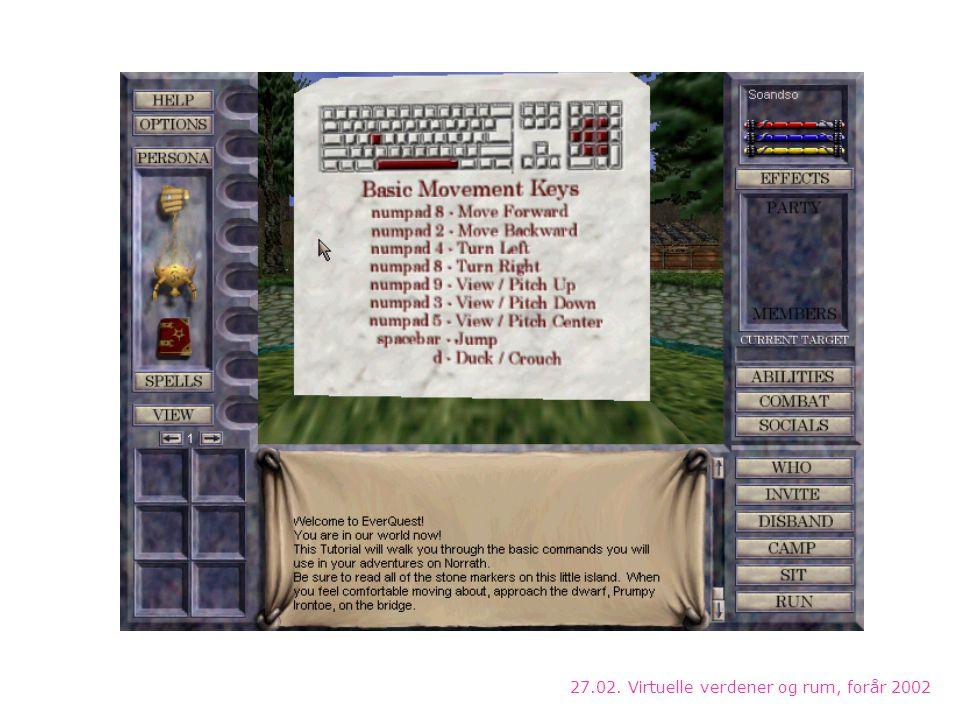 27.02. Virtuelle verdener og rum, forår 2002