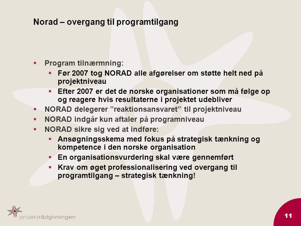 11 Norad – overgang til programtilgang  Program tilnærmning:  Før 2007 tog NORAD alle afgørelser om støtte helt ned på projektniveau  Efter 2007 er det de norske organisationer som må følge op og reagere hvis resultaterne i projektet udebliver  NORAD delegerer reaktionsansvaret til projektniveau  NORAD indgår kun aftaler på programniveau  NORAD sikre sig ved at indføre:  Ansøgningsskema med fokus på strategisk tænkning og kompetence i den norske organisation  En organisationsvurdering skal være gennemført  Krav om øget professionalisering ved overgang til programtilgang – strategisk tænkning!