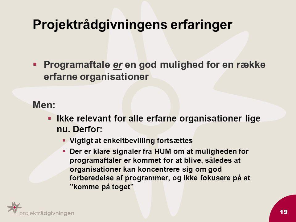 19 Projektrådgivningens erfaringer  Programaftale er en god mulighed for en række erfarne organisationer Men:  Ikke relevant for alle erfarne organisationer lige nu.