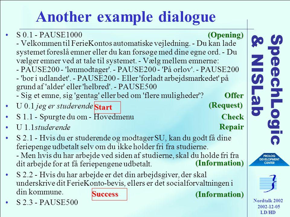 SpeechLogic & NISLab Nordtalk 2002 2002-12-05 LD/HD Another example dialogue •S 0.1 - PAUSE1000 - Velkommen til FerieKontos automatiske vejledning.
