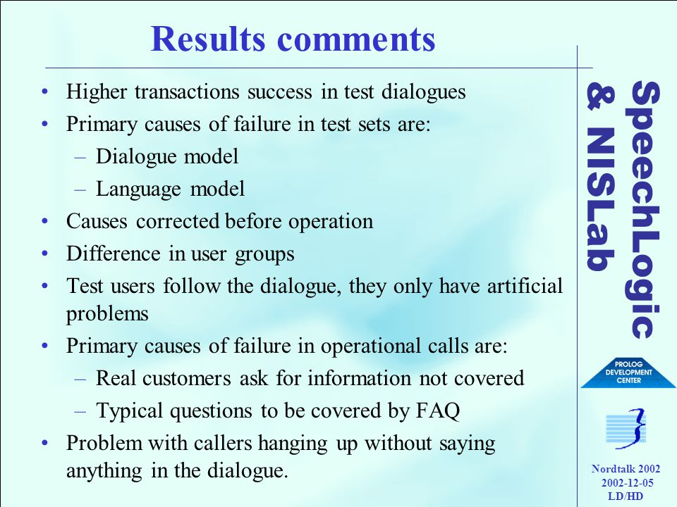 SpeechLogic & NISLab Nordtalk 2002 2002-12-05 LD/HD Results comments •Higher transactions success in test dialogues •Primary causes of failure in test sets are: –Dialogue model –Language model •Causes corrected before operation •Difference in user groups •Test users follow the dialogue, they only have artificial problems •Primary causes of failure in operational calls are: –Real customers ask for information not covered –Typical questions to be covered by FAQ •Problem with callers hanging up without saying anything in the dialogue.