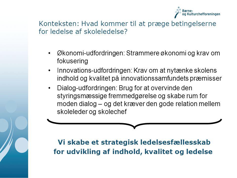 Konteksten: Hvad kommer til at præge betingelserne for ledelse af skoleledelse.