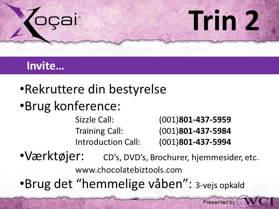 Invite… • Rekruttere din bestyrelse • Brug konference: Sizzle Call: (001)801-437-5959 Training Call: (001)801-437-5984 Introduction Call: (001)801-437-5994 • Værktøjer: CD's, DVD's, Brochurer, hjemmesider, etc.