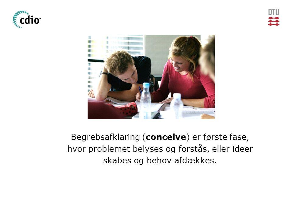 Begrebsafklaring (conceive) er første fase, hvor problemet belyses og forstås, eller ideer skabes og behov afdækkes.
