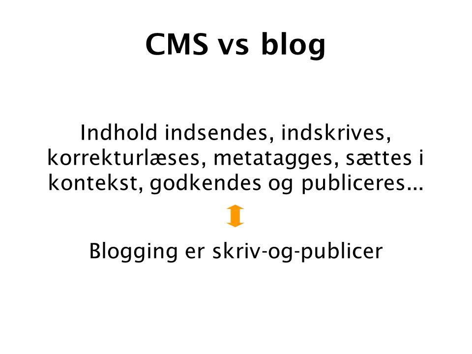 CMS vs blog Blogging er skriv-og-publicer Indhold indsendes, indskrives, korrekturlæses, metatagges, sættes i kontekst, godkendes og publiceres...