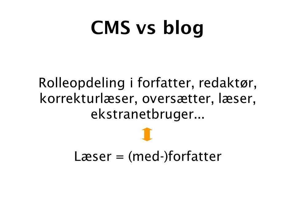 CMS vs blog Læser = (med-)forfatter Rolleopdeling i forfatter, redaktør, korrekturlæser, oversætter, læser, ekstranetbruger...