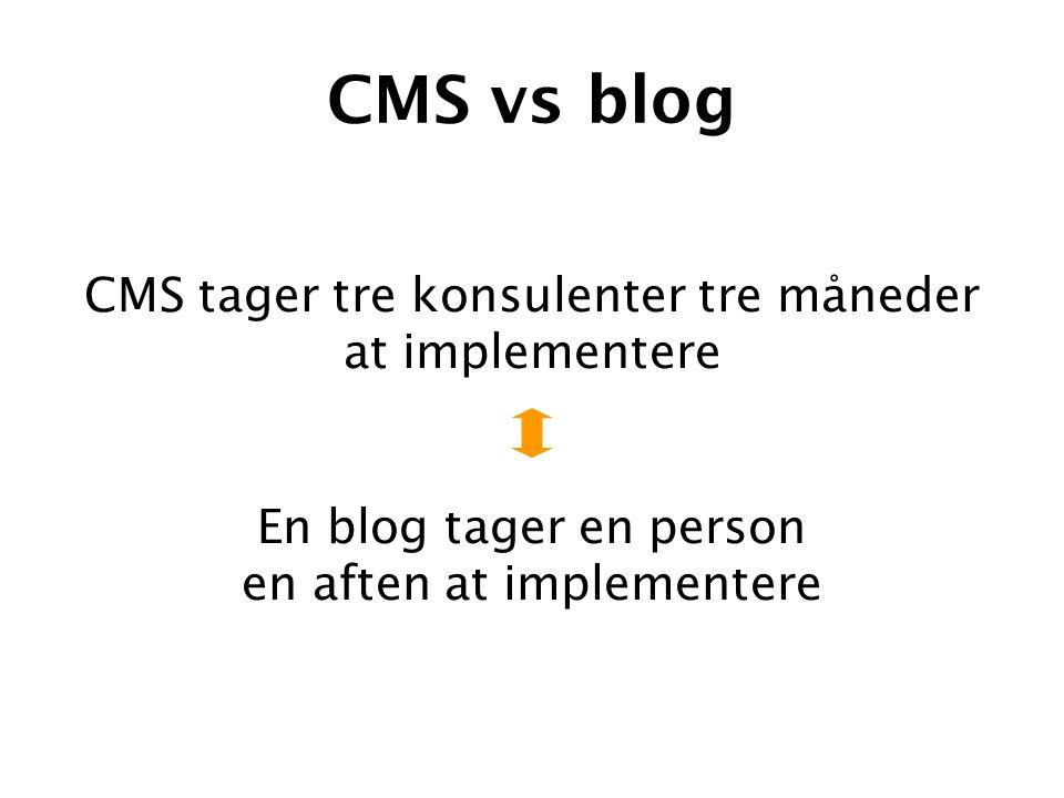 CMS vs blog En blog tager en person en aften at implementere CMS tager tre konsulenter tre måneder at implementere