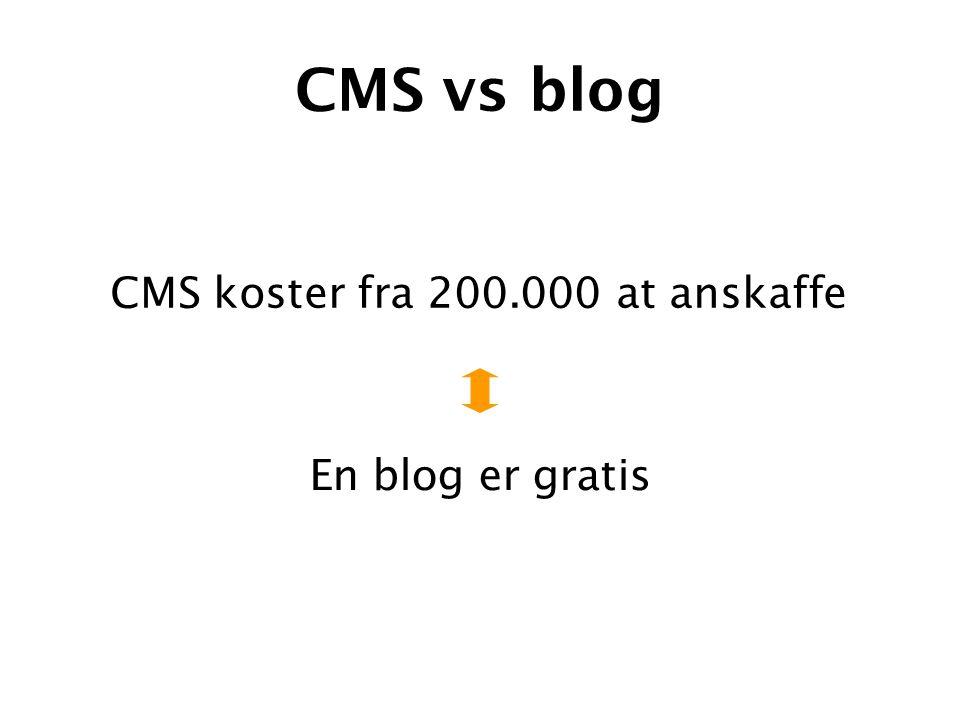 CMS vs blog En blog er gratis CMS koster fra 200.000 at anskaffe