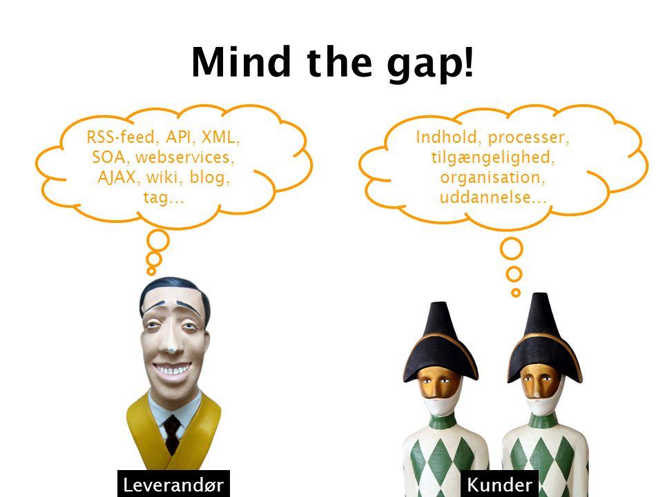 Mind the gap. RSS-feed, API, XML, SOA, webservices, AJAX, wiki, blog, tag...