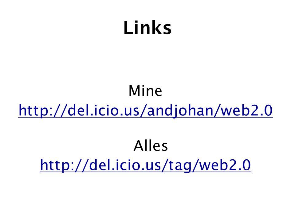 Links Mine http://del.icio.us/andjohan/web2.0 Alles http://del.icio.us/tag/web2.0