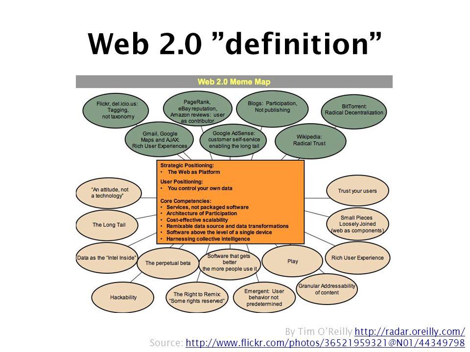 By Tim O'Reilly http://radar.oreilly.com/http://radar.oreilly.com/ Source: http://www.flickr.com/photos/36521959321@N01/44349798http://www.flickr.com/photos/36521959321@N01/44349798 Web 2.0 definition