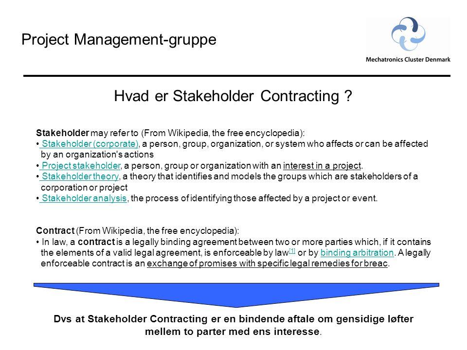 Project Management-gruppe Hvad er Stakeholder Contracting .