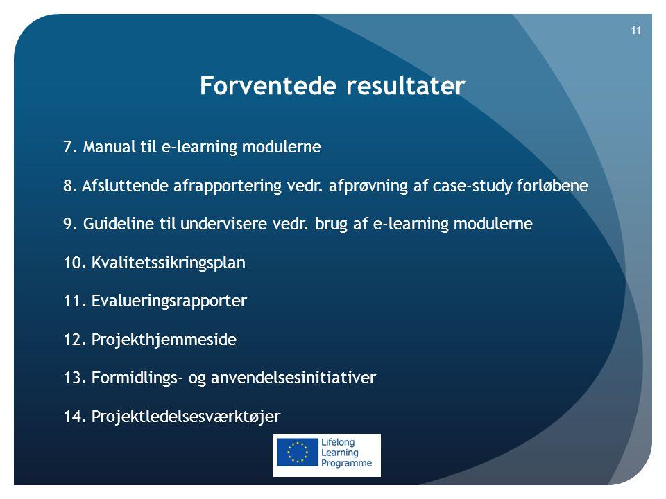 Forventede resultater 7. Manual til e-learning modulerne 8.