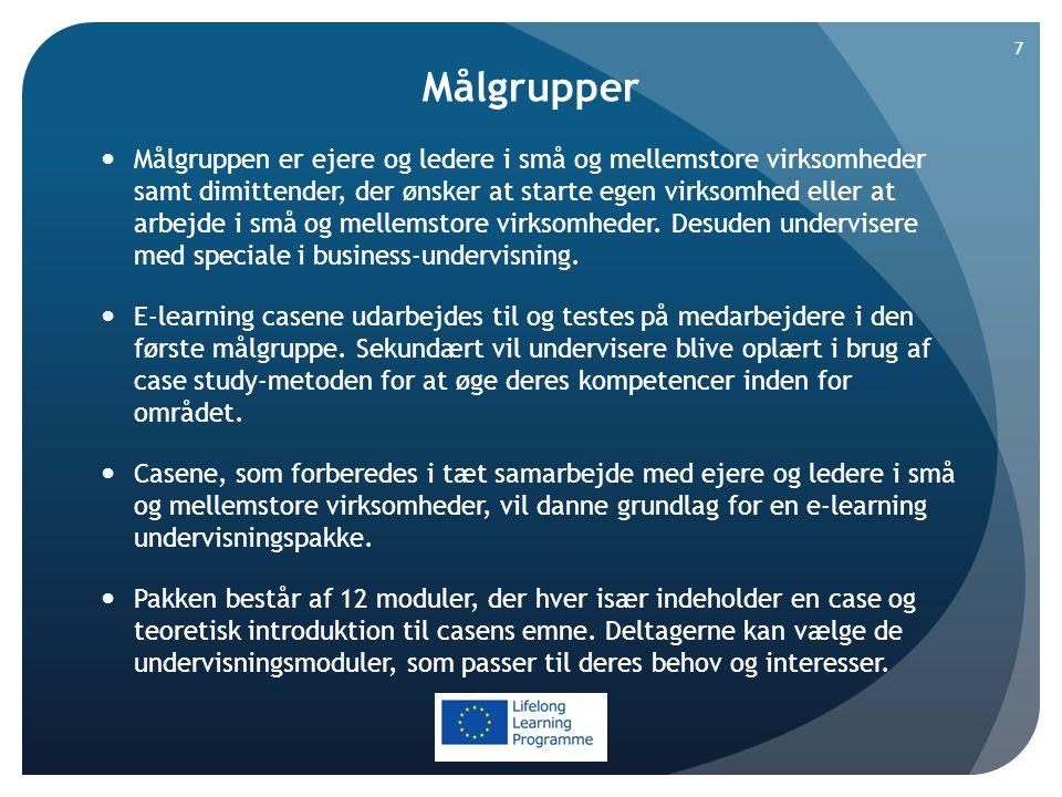 Målgrupper  Målgruppen er ejere og ledere i små og mellemstore virksomheder samt dimittender, der ønsker at starte egen virksomhed eller at arbejde i små og mellemstore virksomheder.