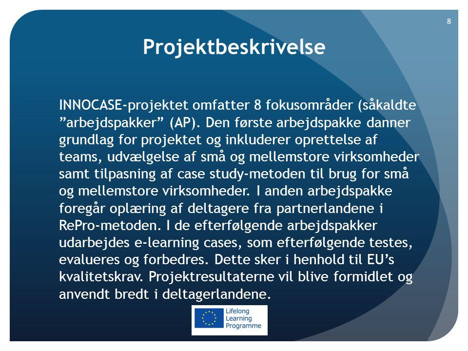 Projektbeskrivelse INNOCASE-projektet omfatter 8 fokusområder (såkaldte arbejdspakker (AP).