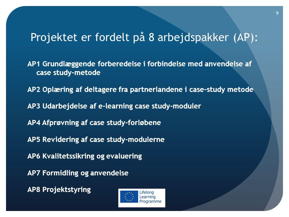 Projektet er fordelt på 8 arbejdspakker (AP): AP1 Grundlæggende forberedelse i forbindelse med anvendelse af case study-metode AP2 Oplæring af deltagere fra partnerlandene i case-study metode AP3 Udarbejdelse af e-learning case study-moduler AP4 Afprøvning af case study-forløbene AP5 Revidering af case study-modulerne AP6 Kvalitetssikring og evaluering AP7 Formidling og anvendelse AP8 Projektstyring 9