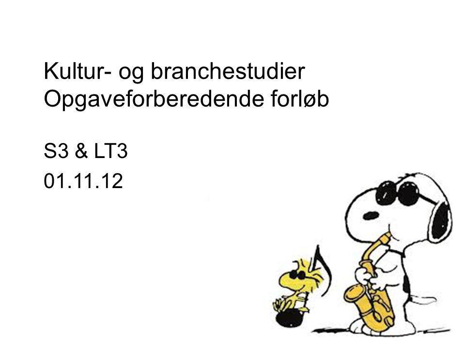 Kultur- og branchestudier Opgaveforberedende forløb S3 & LT3 01.11.12