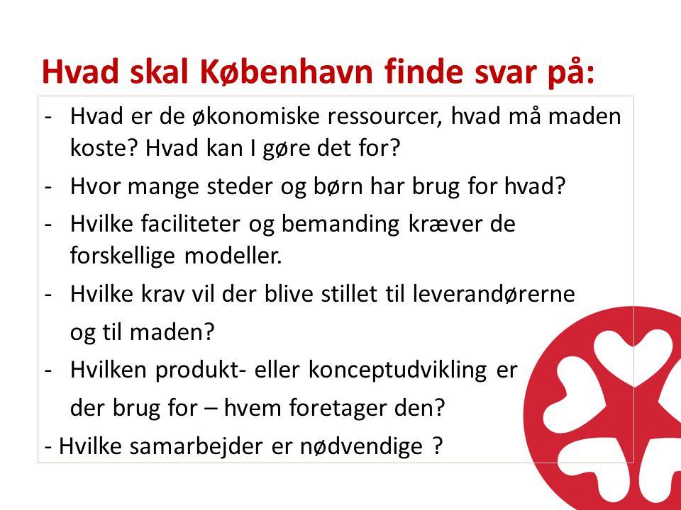 Hvad skal København finde svar på: -Hvad er de økonomiske ressourcer, hvad må maden koste.
