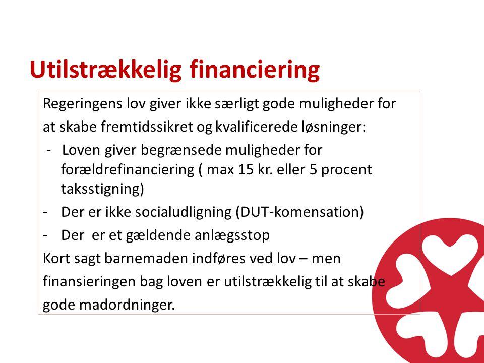 Utilstrækkelig financiering Regeringens lov giver ikke særligt gode muligheder for at skabe fremtidssikret og kvalificerede løsninger: - Loven giver begrænsede muligheder for forældrefinanciering ( max 15 kr.