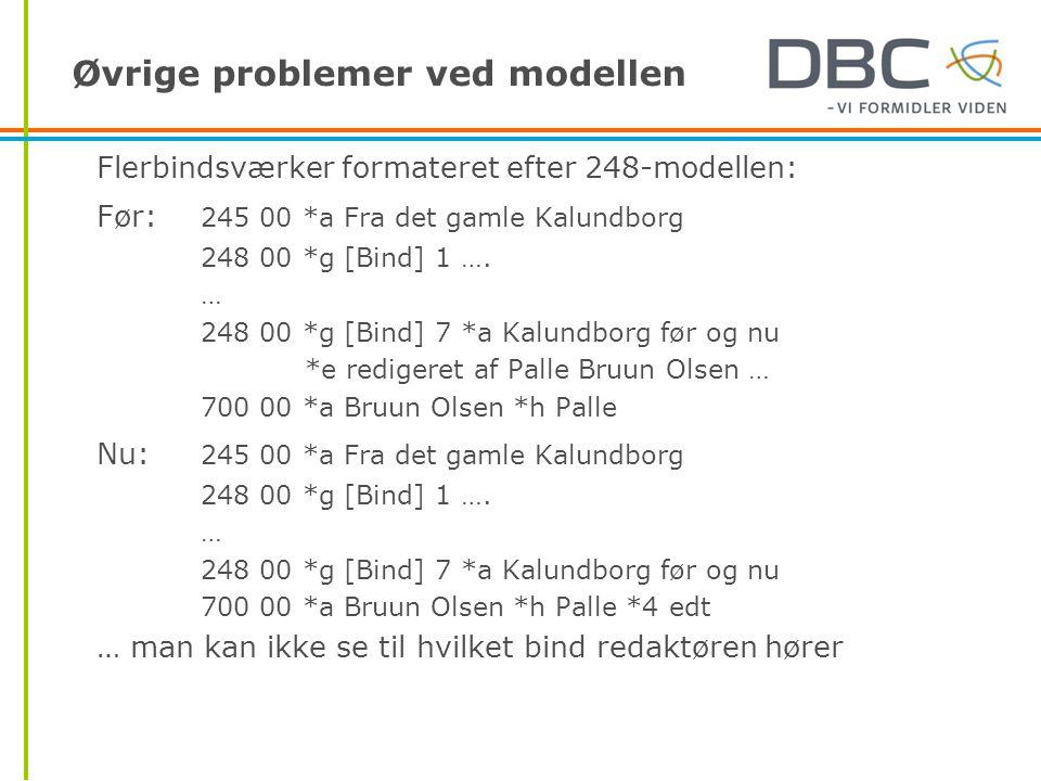 Øvrige problemer ved modellen Flerbindsværker formateret efter 248-modellen: Før: 245 00 *a Fra det gamle Kalundborg 248 00 *g [Bind] 1 ….