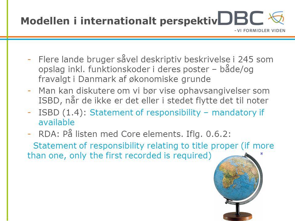 Modellen i internationalt perspektiv -Flere lande bruger såvel deskriptiv beskrivelse i 245 som opslag inkl.