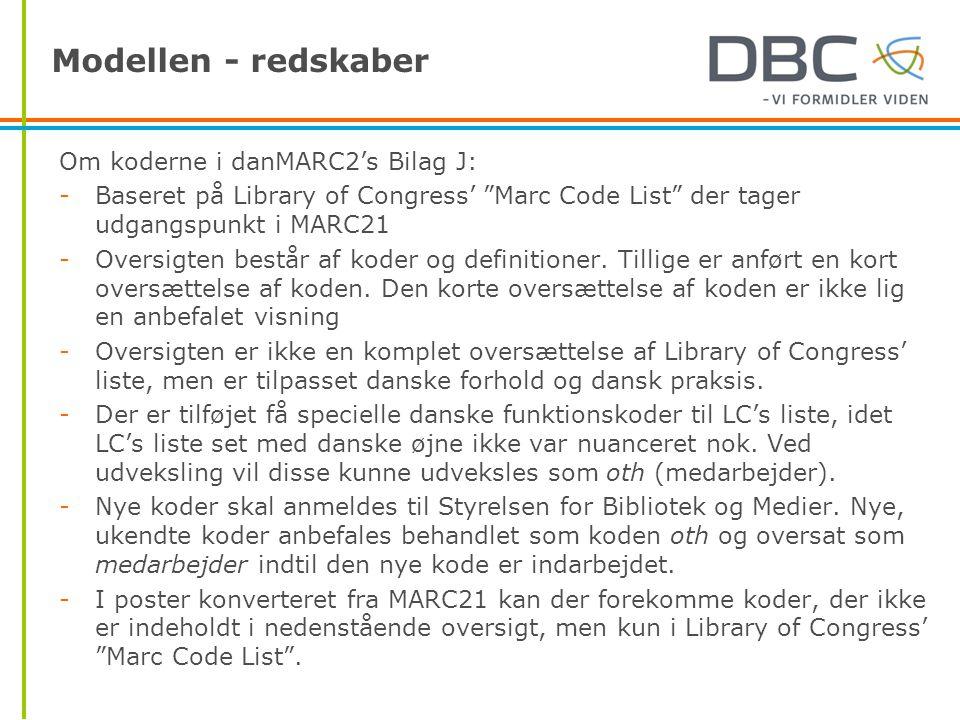 Modellen - redskaber Om koderne i danMARC2's Bilag J: -Baseret på Library of Congress' Marc Code List der tager udgangspunkt i MARC21 -Oversigten består af koder og definitioner.