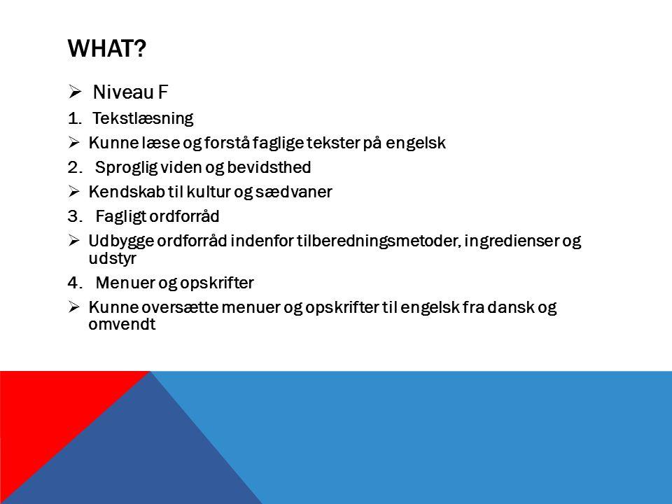 WHAT.  Niveau F 1.Tekstlæsning  Kunne læse og forstå faglige tekster på engelsk 2.