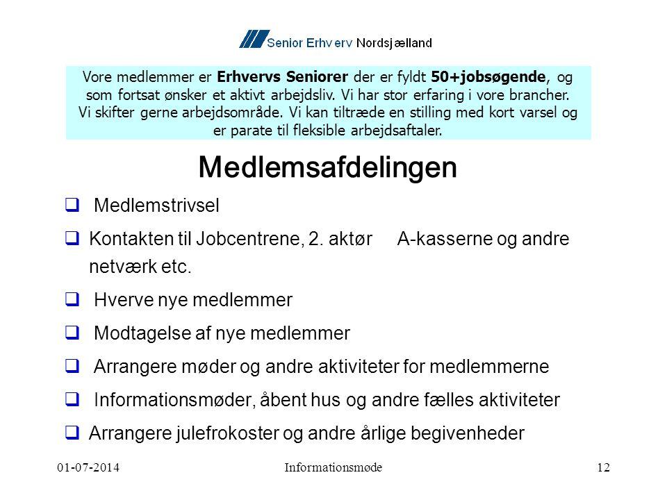 01-07-2014Informationsmøde12 Medlemsafdelingen  Medlemstrivsel  Kontakten til Jobcentrene, 2.