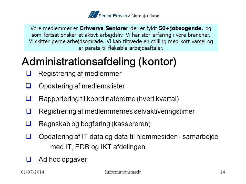 01-07-2014Informationsmøde14 Administrationsafdeling (kontor)  Registrering af medlemmer  Opdatering af medlemslister  Rapportering til koordinatorerne (hvert kvartal)  Registrering af medlemmernes selvaktiveringstimer  Regnskab og bogføring (kassereren)  Opdatering af IT data og data til hjemmesiden i samarbejde med IT, EDB og IKT afdelingen  Ad hoc opgaver Vore medlemmer er Erhvervs Seniorer der er fyldt 50+jobsøgende, og som fortsat ønsker et aktivt arbejdsliv.