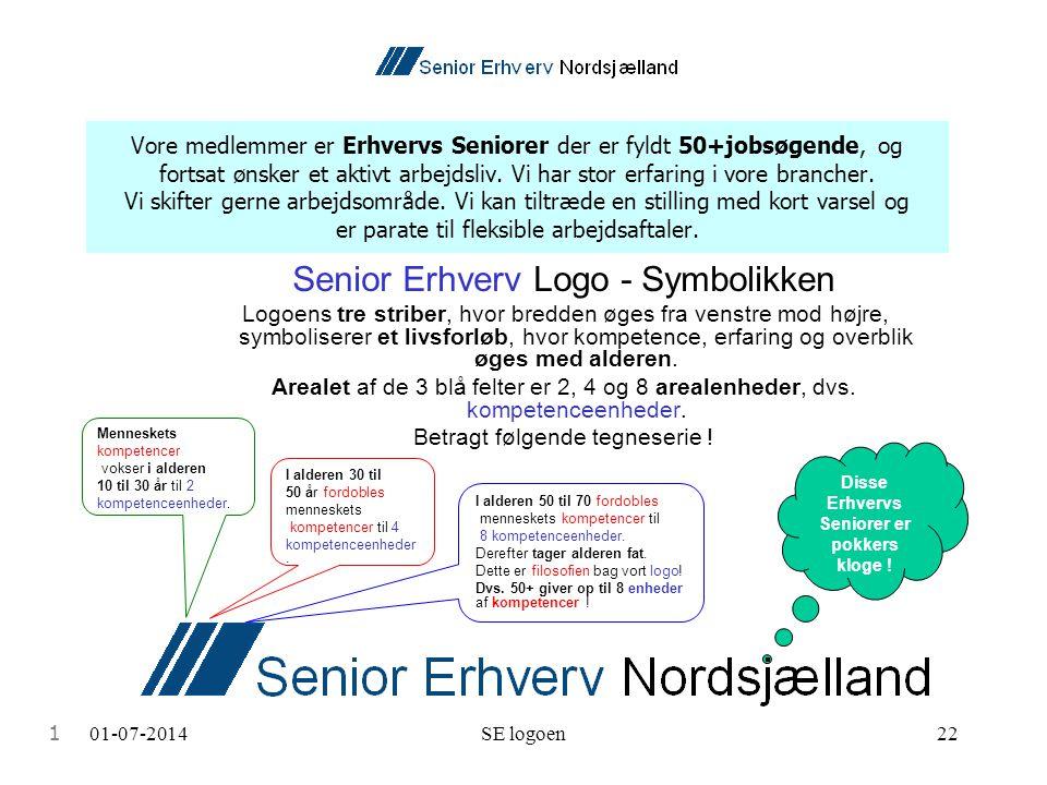 01-07-2014SE logoen22 Vore medlemmer er Erhvervs Seniorer der er fyldt 50+jobsøgende, og fortsat ønsker et aktivt arbejdsliv.