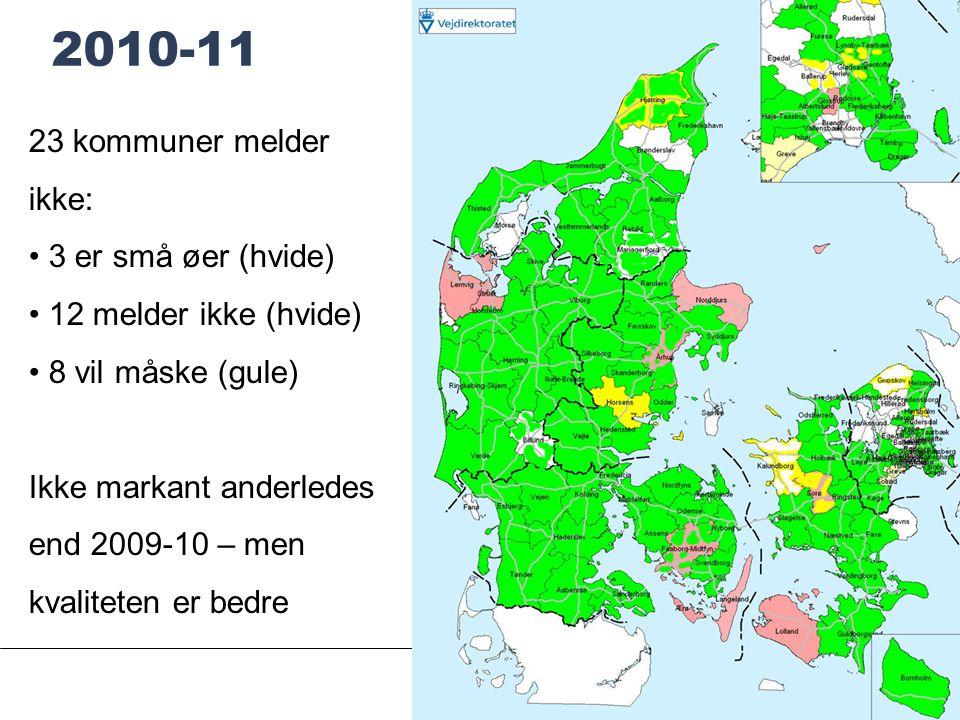 SIDE 13 2010-11 23 kommuner melder ikke: • 3 er små øer (hvide) • 12 melder ikke (hvide) • 8 vil måske (gule) Ikke markant anderledes end 2009-10 – men kvaliteten er bedre