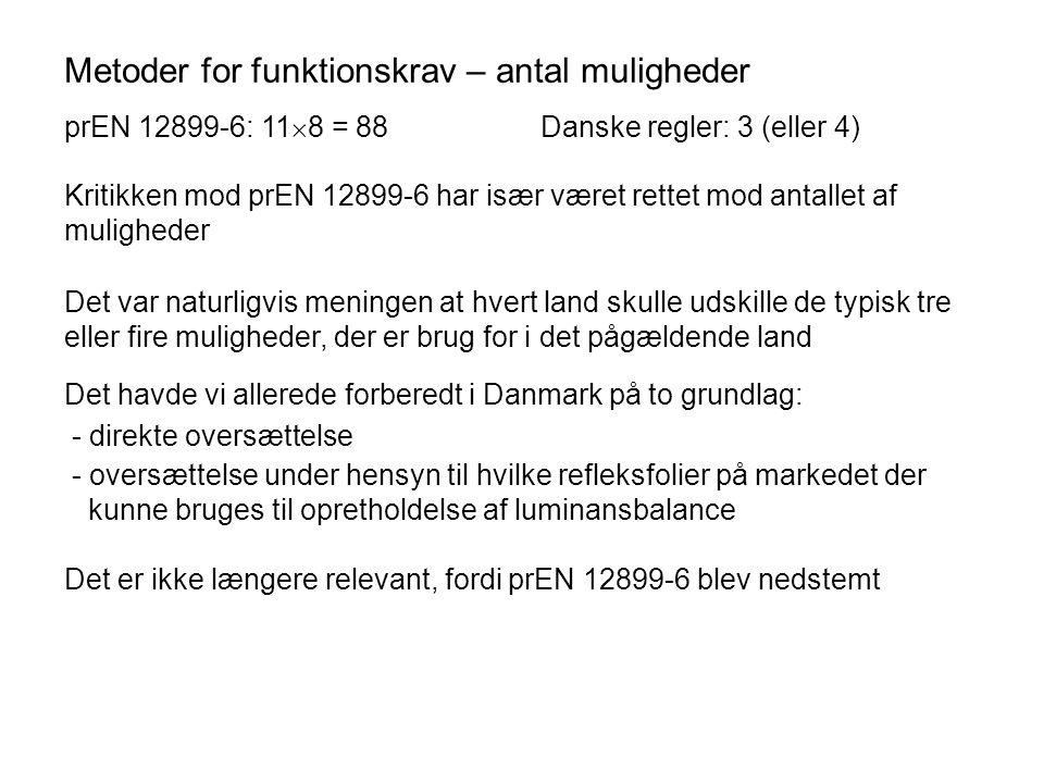 Metoder for funktionskrav – antal muligheder prEN 12899-6:Danske regler: 11  8 = 88 3 (eller 4) Kritikken mod prEN 12899-6 har især været rettet mod antallet af muligheder Det var naturligvis meningen at hvert land skulle udskille de typisk tre eller fire muligheder, der er brug for i det pågældende land Det havde vi allerede forberedt i Danmark på to grundlag: - direkte oversættelse - oversættelse under hensyn til hvilke refleksfolier på markedet der kunne bruges til opretholdelse af luminansbalance Det er ikke længere relevant, fordi prEN 12899-6 blev nedstemt