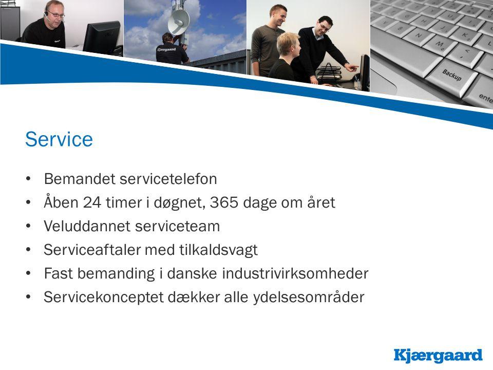 Service • Bemandet servicetelefon • Åben 24 timer i døgnet, 365 dage om året • Veluddannet serviceteam • Serviceaftaler med tilkaldsvagt • Fast bemanding i danske industrivirksomheder • Servicekonceptet dækker alle ydelsesområder