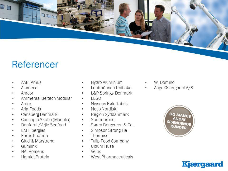 Referencer • AAB, Århus • Alumeco • Amcor • Ammeraal Beltech Modular • Ardex • Arla Foods • Carlsberg Danmark • Concepta Skabe (Modulia) • Danforel /Vejle Seafood • EM Fiberglas • Fertin Pharma • Glud & Marstrand • Gumlink • HAI Horsens • Hamlet Protein • Hydro Aluminium • Lantmännen Unibake • L&P Springs Denmark • LEGO • Nissens Kølerfabrik • Novo Nordisk • Region Syddanmark • Summerbird • Søren Berggreen & Co.
