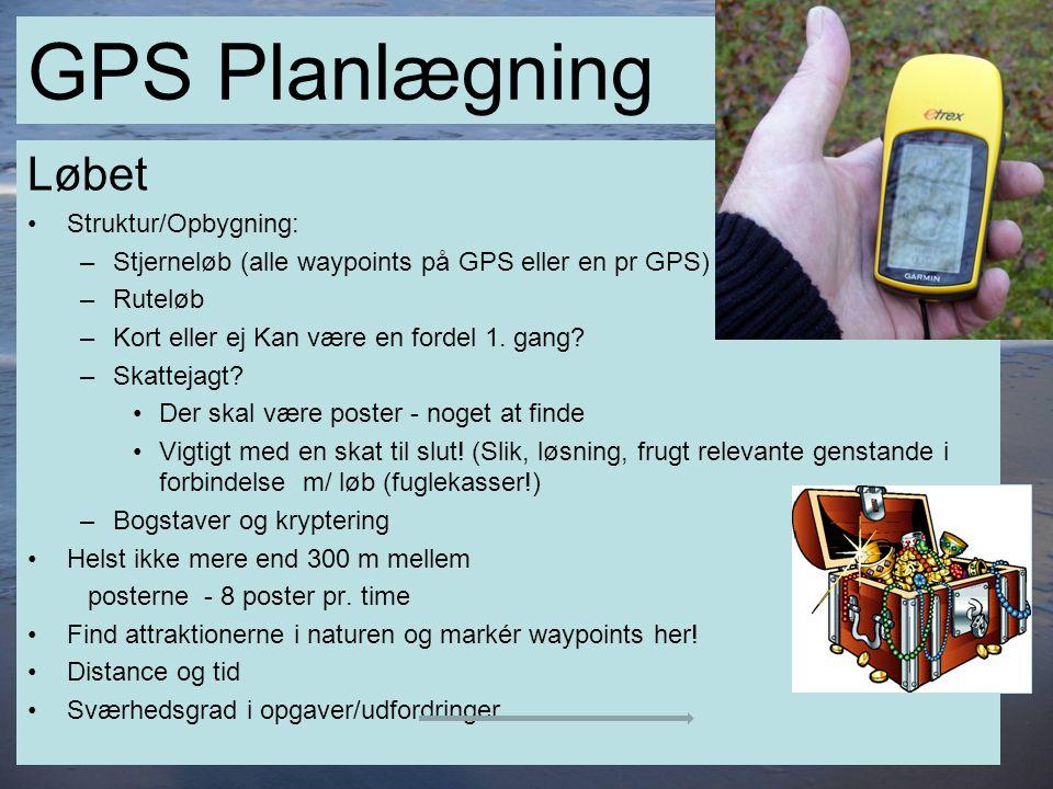 12 GPS Planlægning Løbet •Struktur/Opbygning: –Stjerneløb (alle waypoints på GPS eller en pr GPS) –Ruteløb –Kort eller ej Kan være en fordel 1.