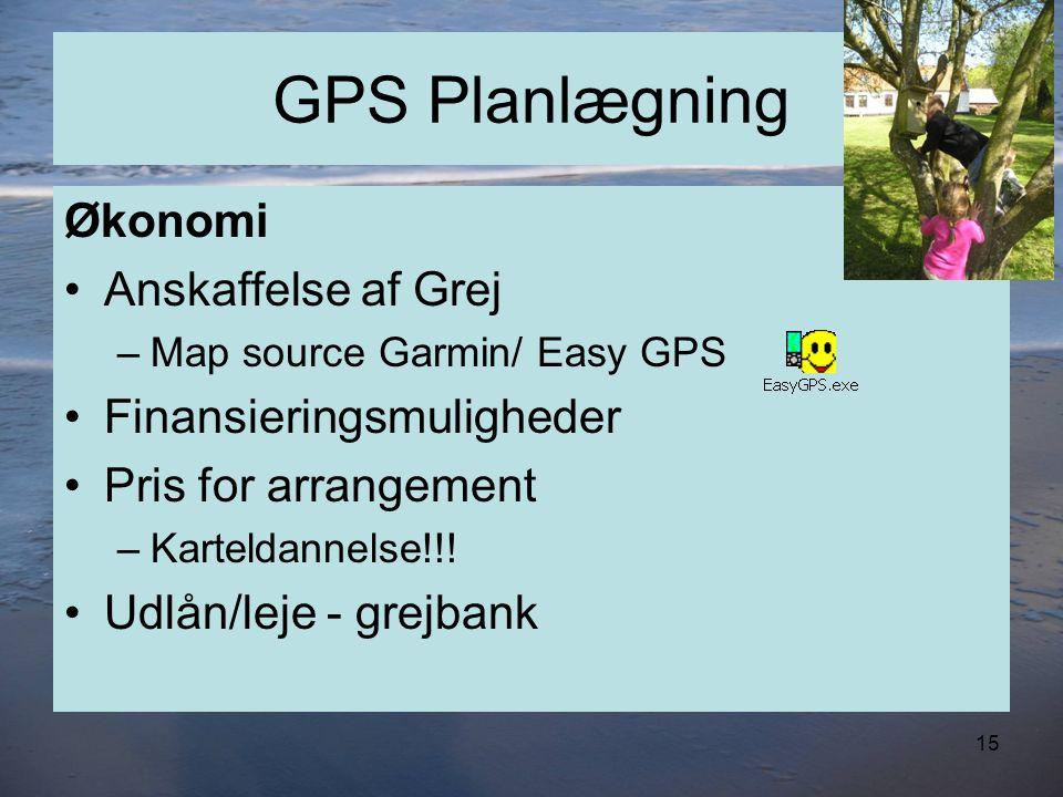 GPS Planlægning Økonomi •Anskaffelse af Grej –Map source Garmin/ Easy GPS •Finansieringsmuligheder •Pris for arrangement –Karteldannelse!!.