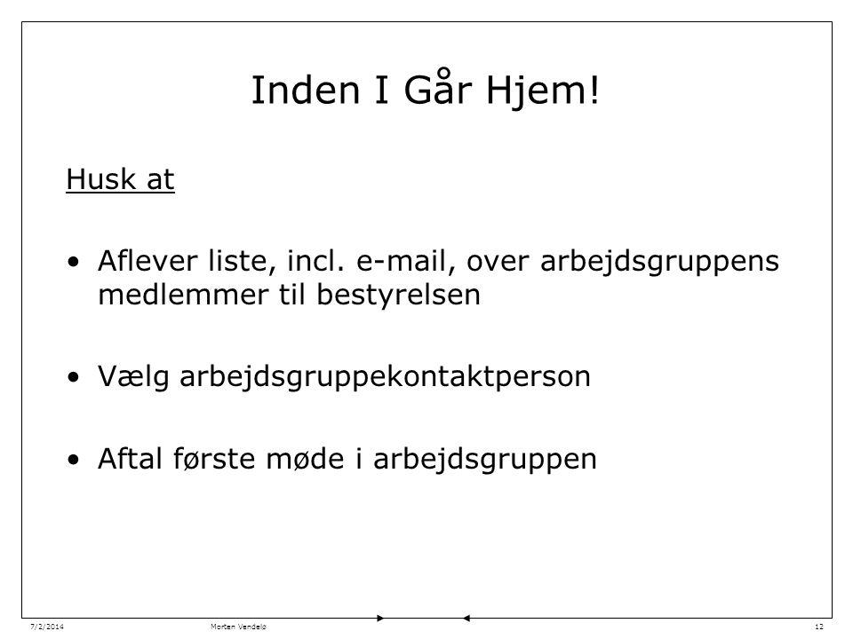 Morten Vendelø7/2/201412 Inden I Går Hjem. Husk at •Aflever liste, incl.
