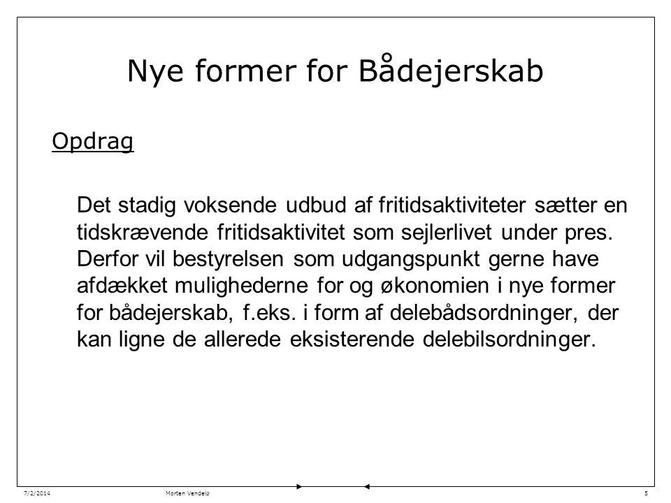 Morten Vendelø7/2/20145 Nye former for Bådejerskab Opdrag Det stadig voksende udbud af fritidsaktiviteter sætter en tidskrævende fritidsaktivitet som sejlerlivet under pres.