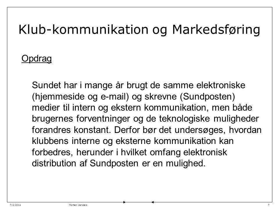 Morten Vendelø7/2/20147 Klub-kommunikation og Markedsføring Opdrag Sundet har i mange år brugt de samme elektroniske (hjemmeside og e-mail) og skrevne (Sundposten) medier til intern og ekstern kommunikation, men både brugernes forventninger og de teknologiske muligheder forandres konstant.